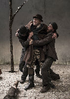 Marty Rea as Vladimir, Rory Nolan as Pozzo and Aaron Monaghan as Estragon in